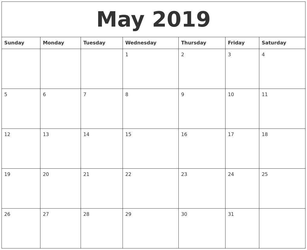 May 2019 Free Printable Calendar Templates PDF's