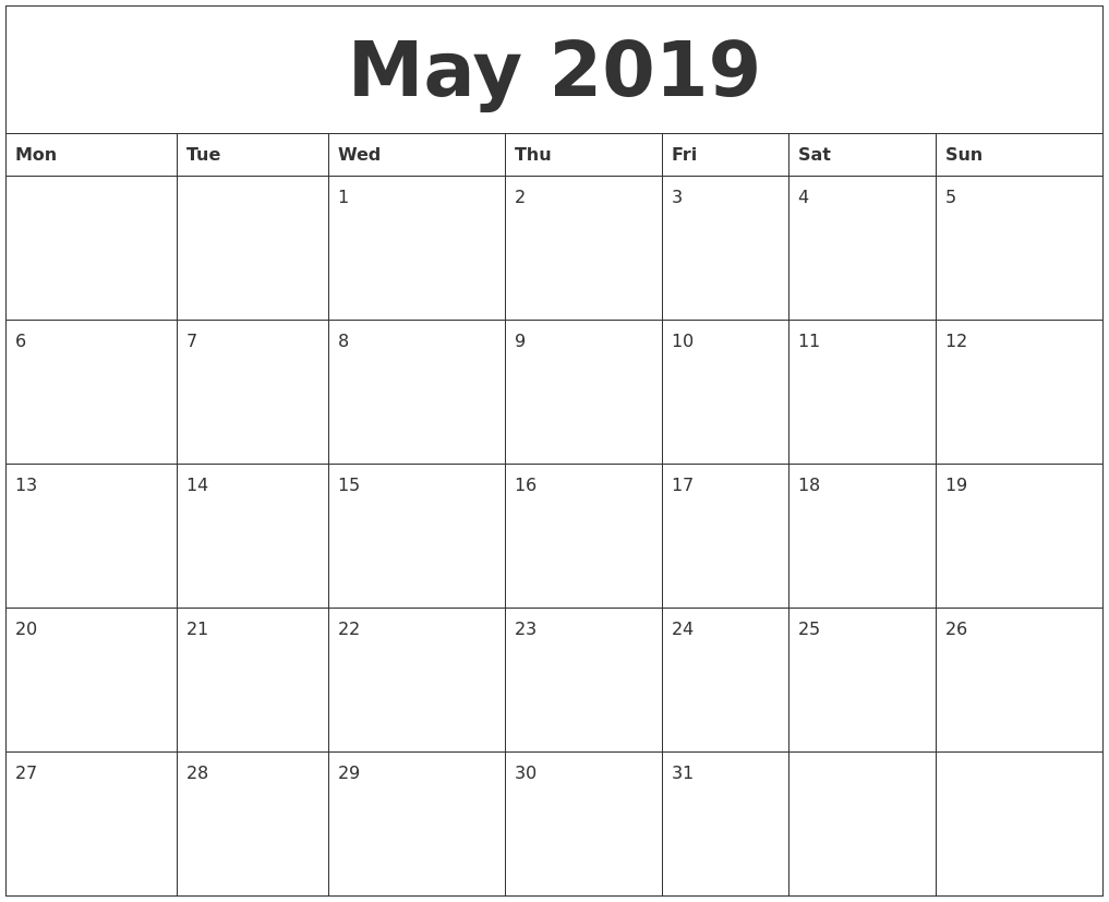 graphic regarding Printable Calendars Free known as May possibly 2019 Free of charge Printable Month to month Calendar