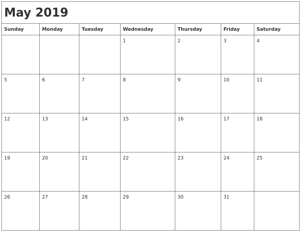 May 2019 Month Calendar