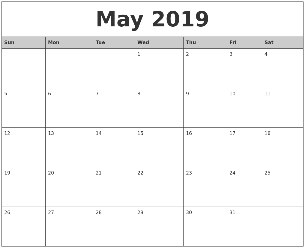 May 2019 Monthly Calendar Printable