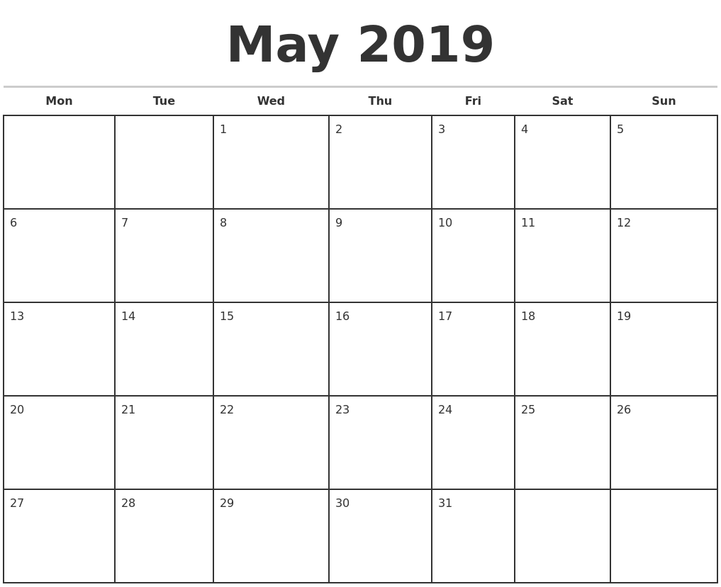 May 2019 Monthly Calendar Template