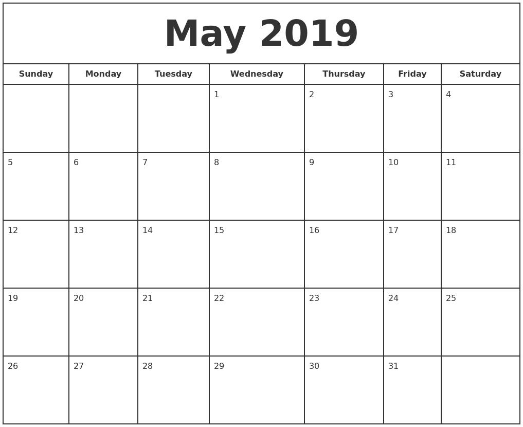 May 2019 Print Free Calendar