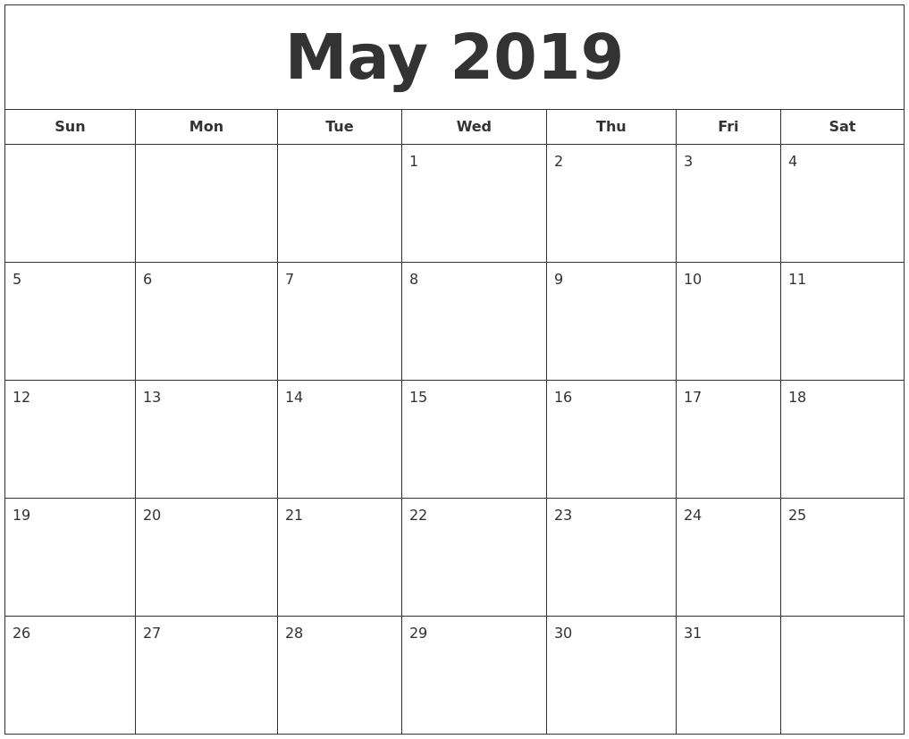 graphic relating to Printable Calendars May referred to as May perhaps 2019 Printable Calendar