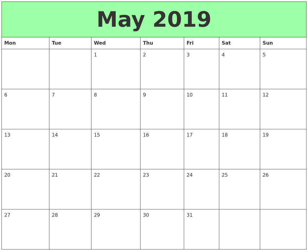May 2019 Printable Calendars