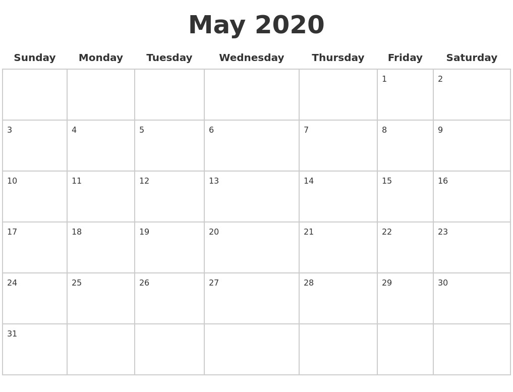 This is a graphic of Current Free Printable Blank Calendars 2020
