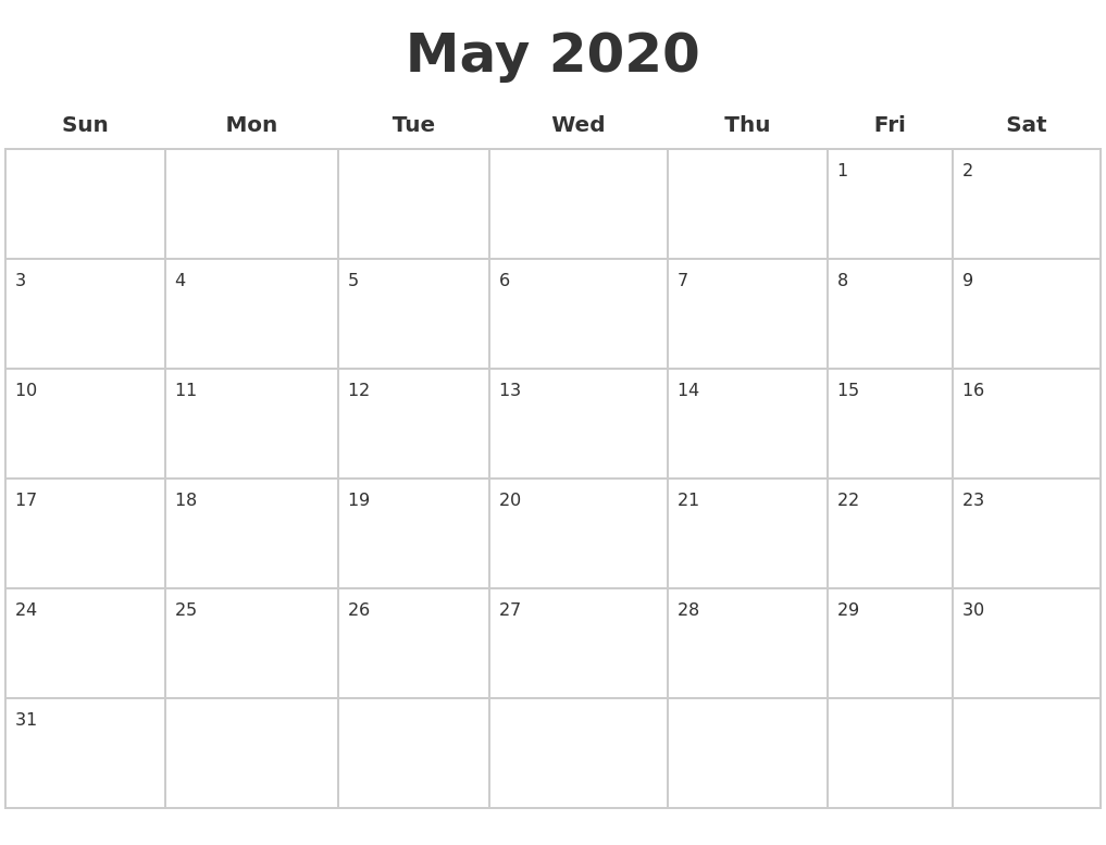 May Printable Calendar 2020.May 2020 Blank Calendar Pages
