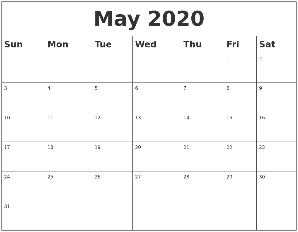September 2020 Free Calendar