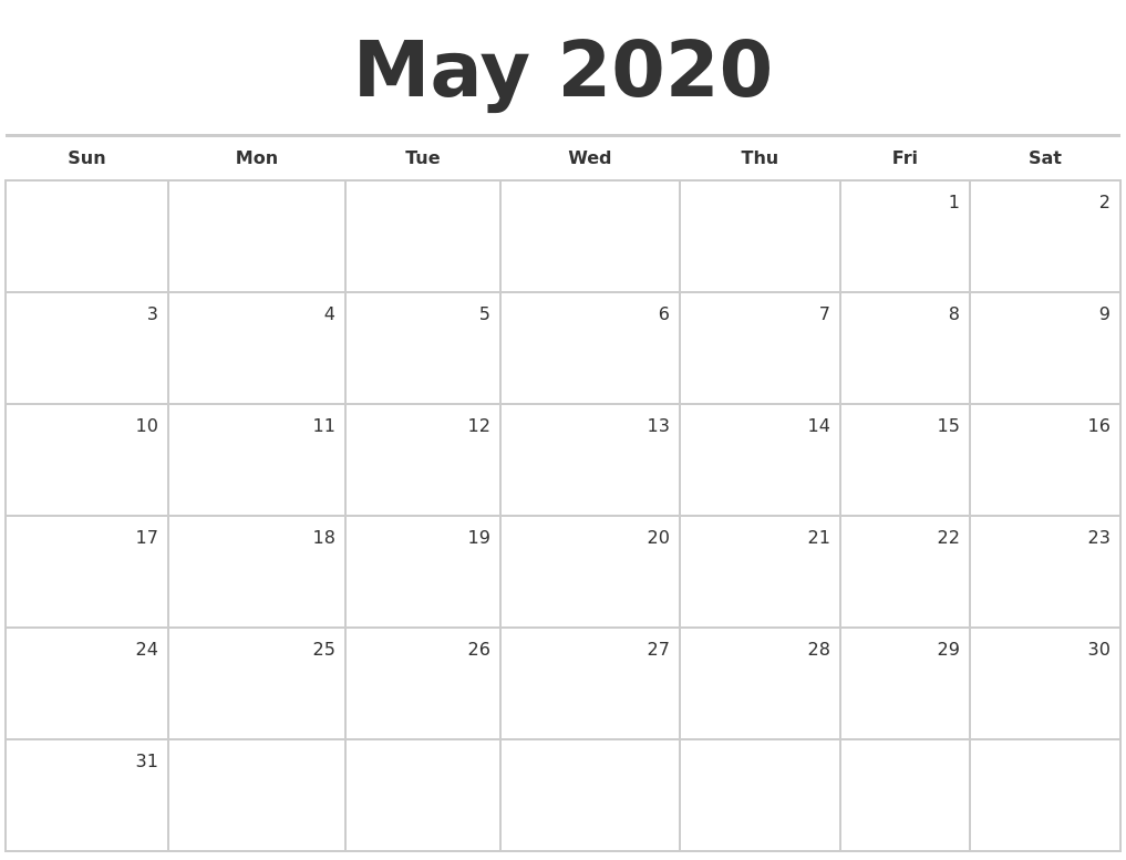 May 2020 Blank Monthly Calendar