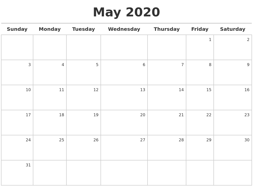 May 2020 Calendar Maker