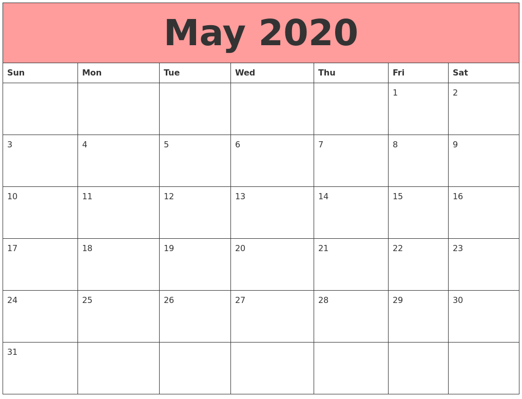 May 2020 Calendars That Work