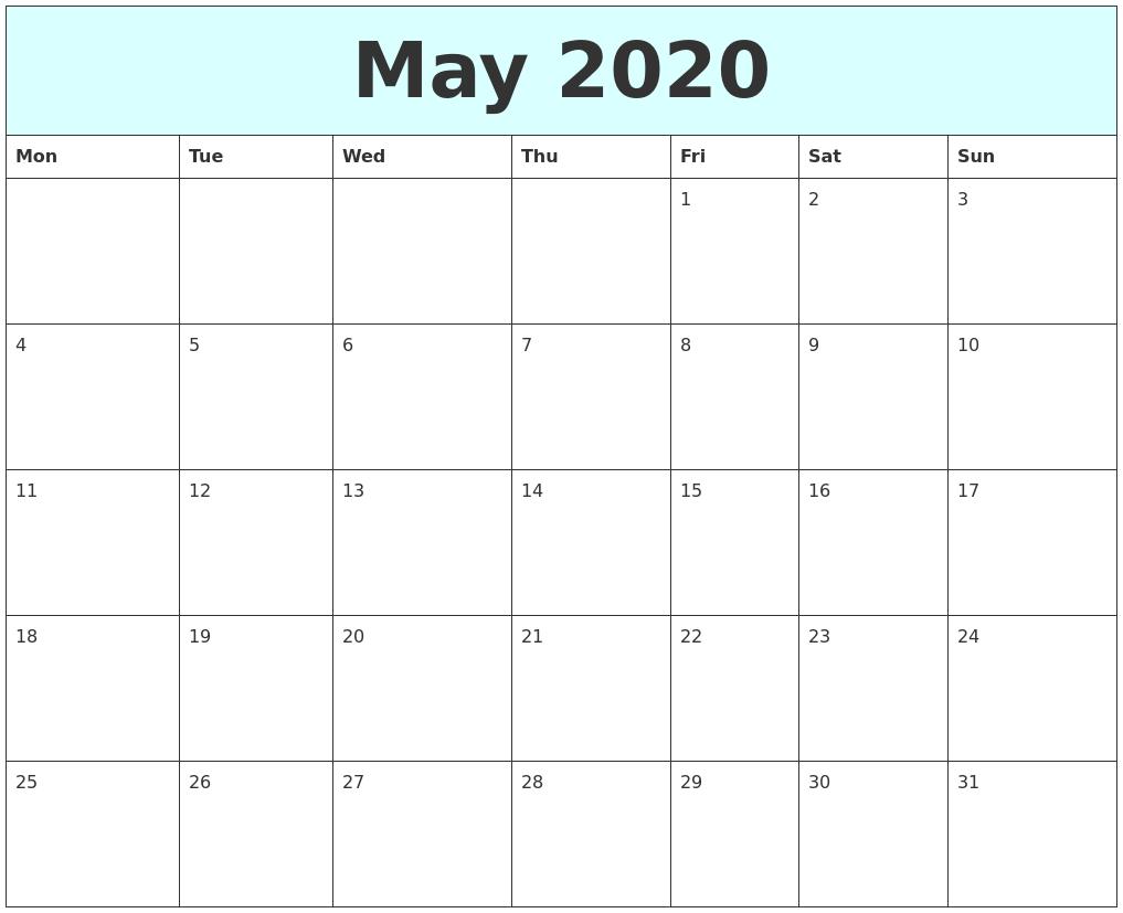 Calendar May Monday : May free calendar