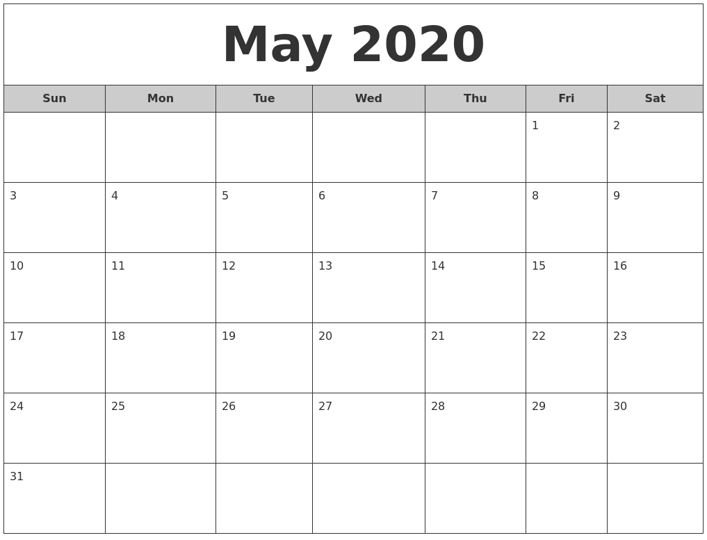 May 2020 Free Monthly Calendar