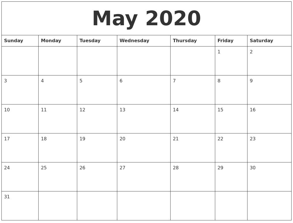 may 2020 make a calendar free