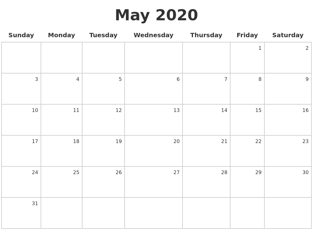 It's just a picture of Ridiculous Printable May 2020 Calendars