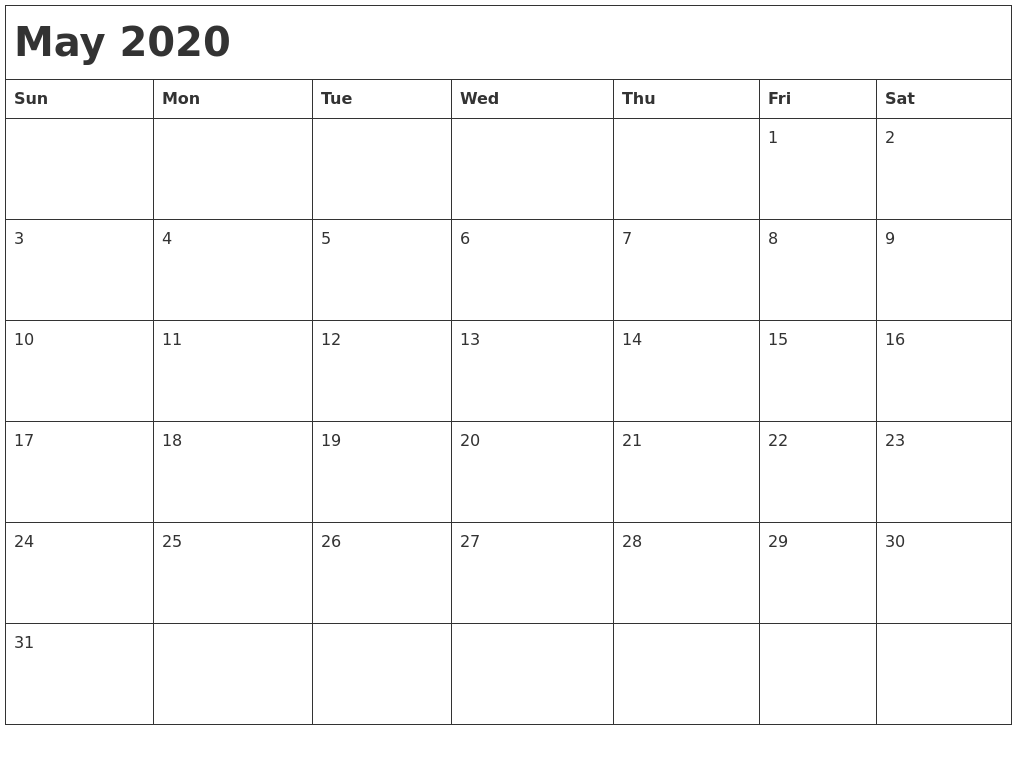 May 2020 Month Calendar