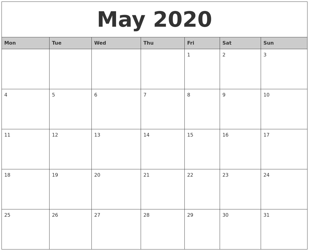 May 2020 Monthly Calendar Printable