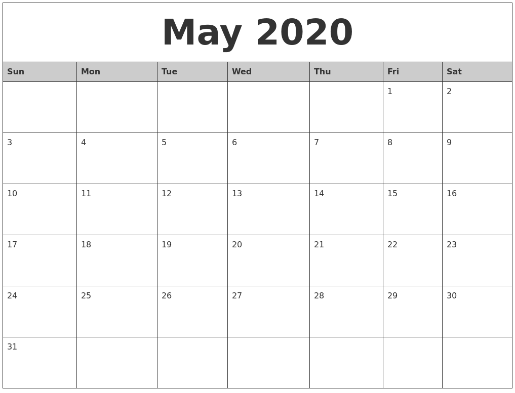 May Printable Calendar 2020.May 2020 Monthly Calendar Printable