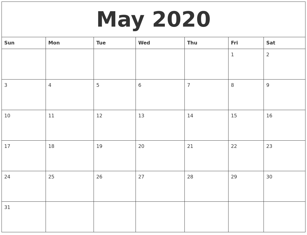 graphic relating to Monthly Printable Calendar titled Could 2020 Month to month Printable Calendar