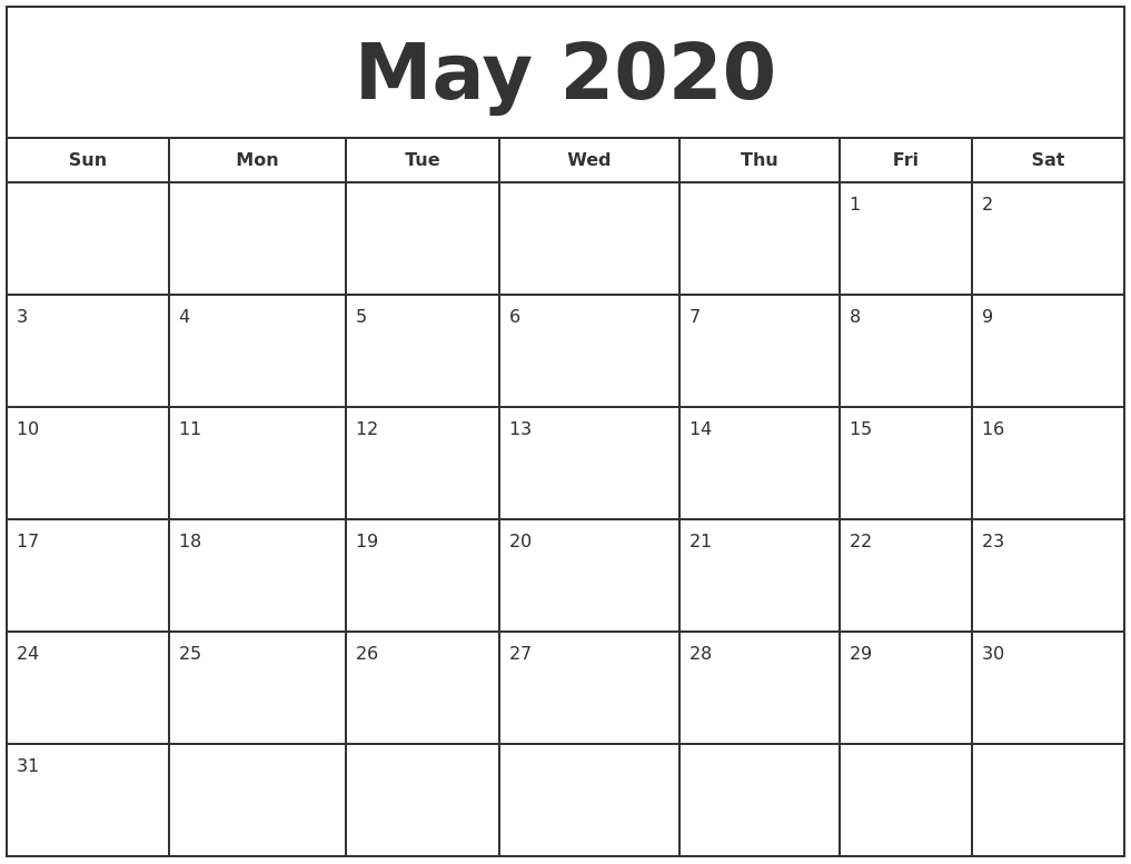 picture about Printfree Com Calender identify Might 2020 Print Free of charge Calendar