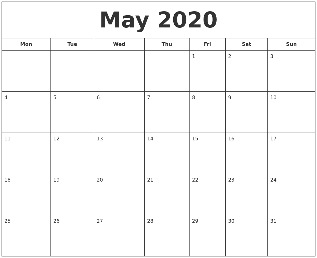 This is an image of Stupendous Printable May 2020 Calendars