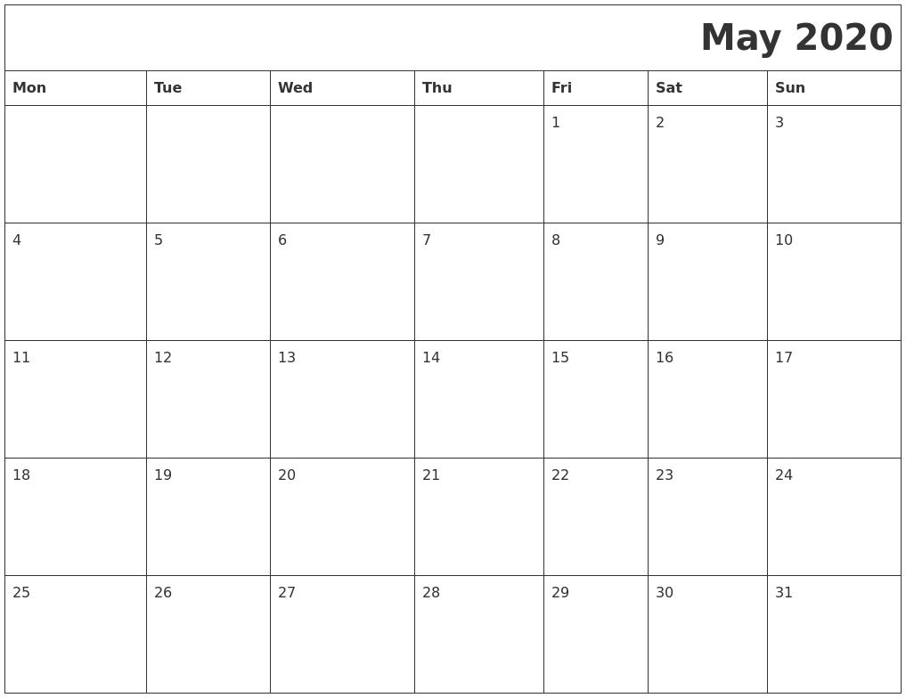 May 2020 Printable Calender PDF's
