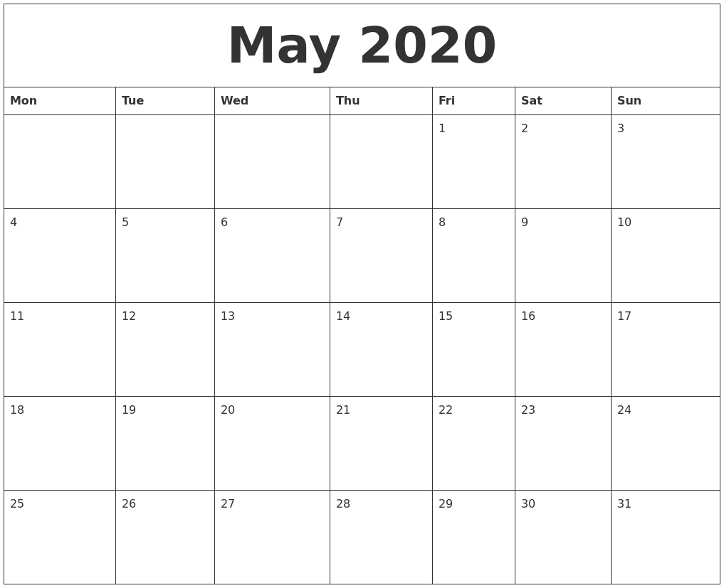 May 2020 Printable Daily Calendar