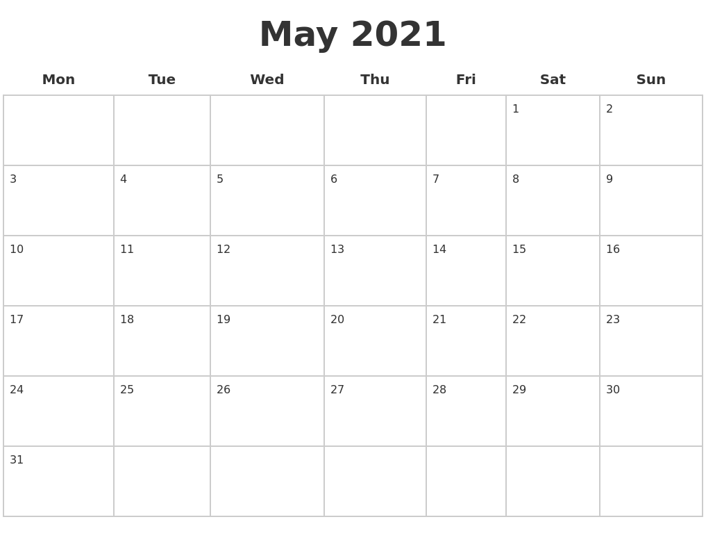 May 2021 Blank Calendar Pages