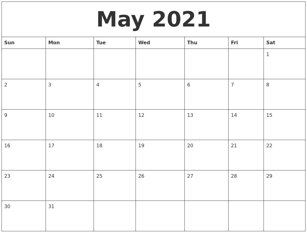 May 2021 Blank Monthly Calendar Pdf