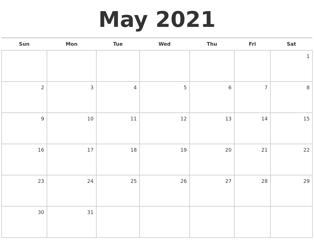 May 2021 Blank Monthly Calendar