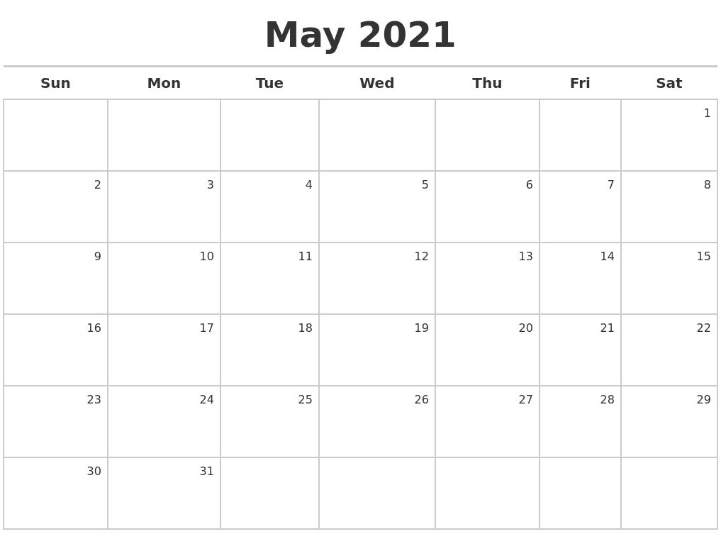 Calendar Maker 2021 May 2021 Calendar Maker
