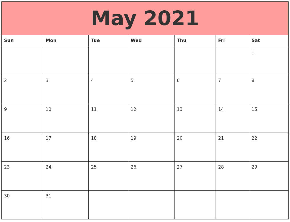 May 2021 Calendars That Work