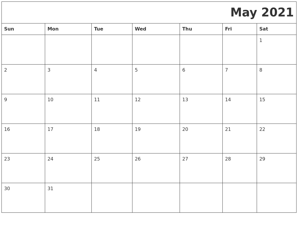 May 2021 Download Calendar