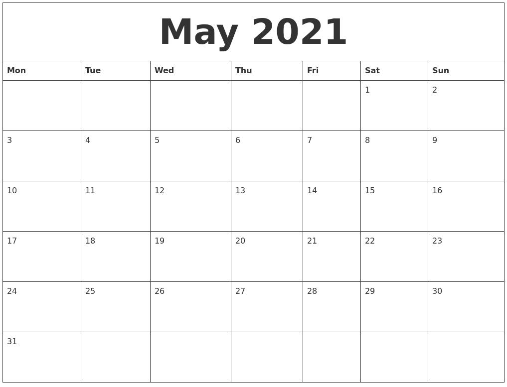 May 2021 Calendar Editable Images