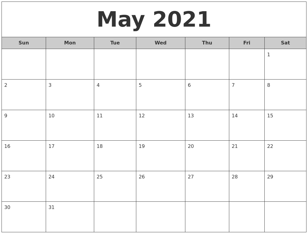 May 2021 Free Monthly Calendar