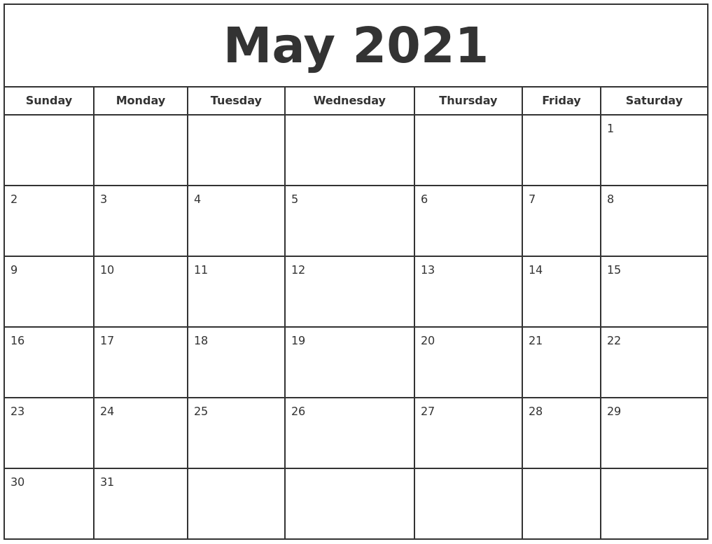 May 2021 Print Free Calendar