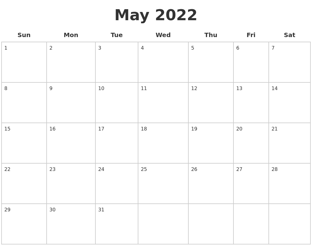 May 2022 Blank Calendar Pages