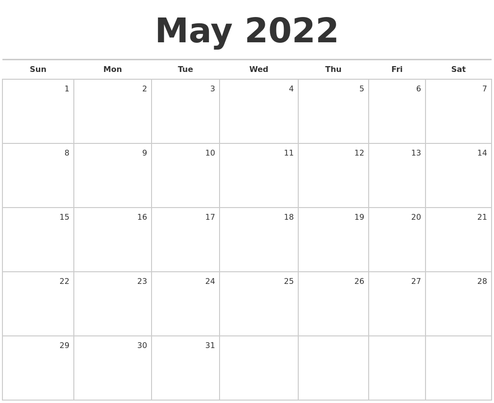 May 2022 Blank Monthly Calendar
