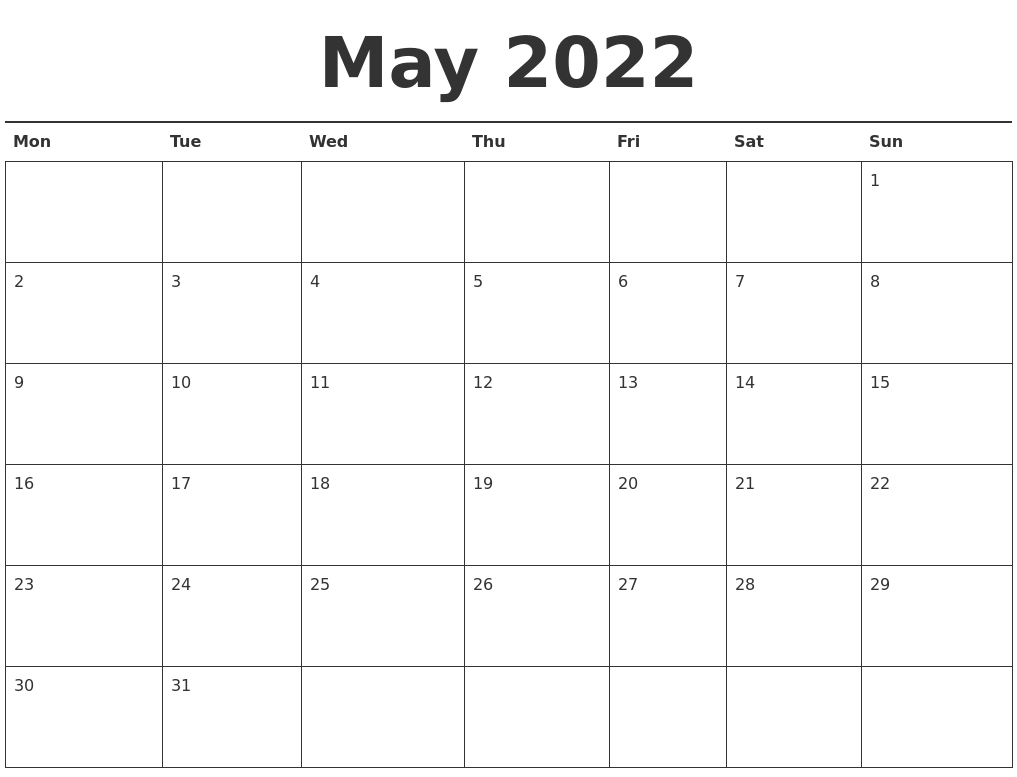 image about 2022 Calendar Printable titled Might 2022 Calendar Printable