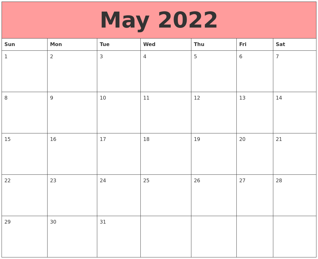 May 2022 Calendars That Work