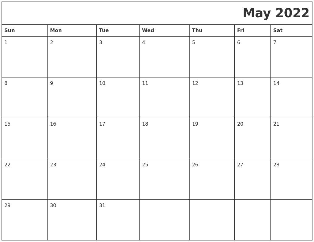 May 2022 Download Calendar