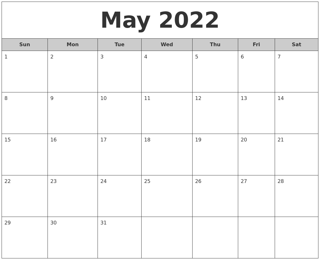 May 2022 Free Monthly Calendar