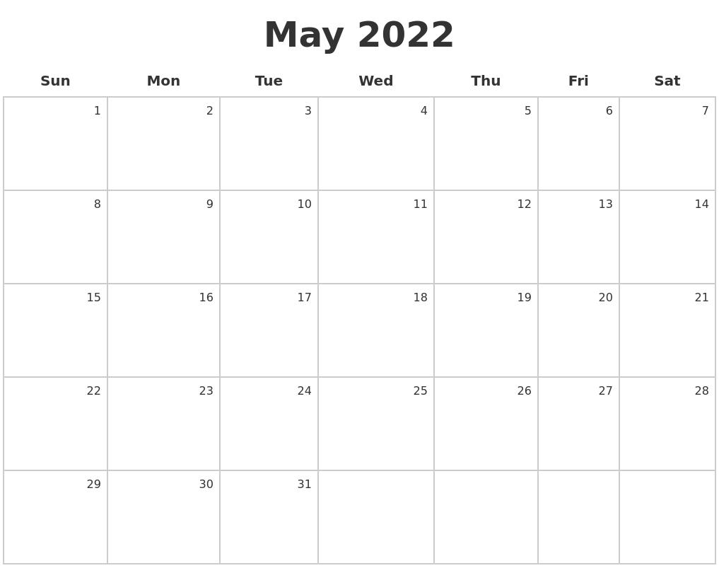 January 2022 Monthly Calendar Template