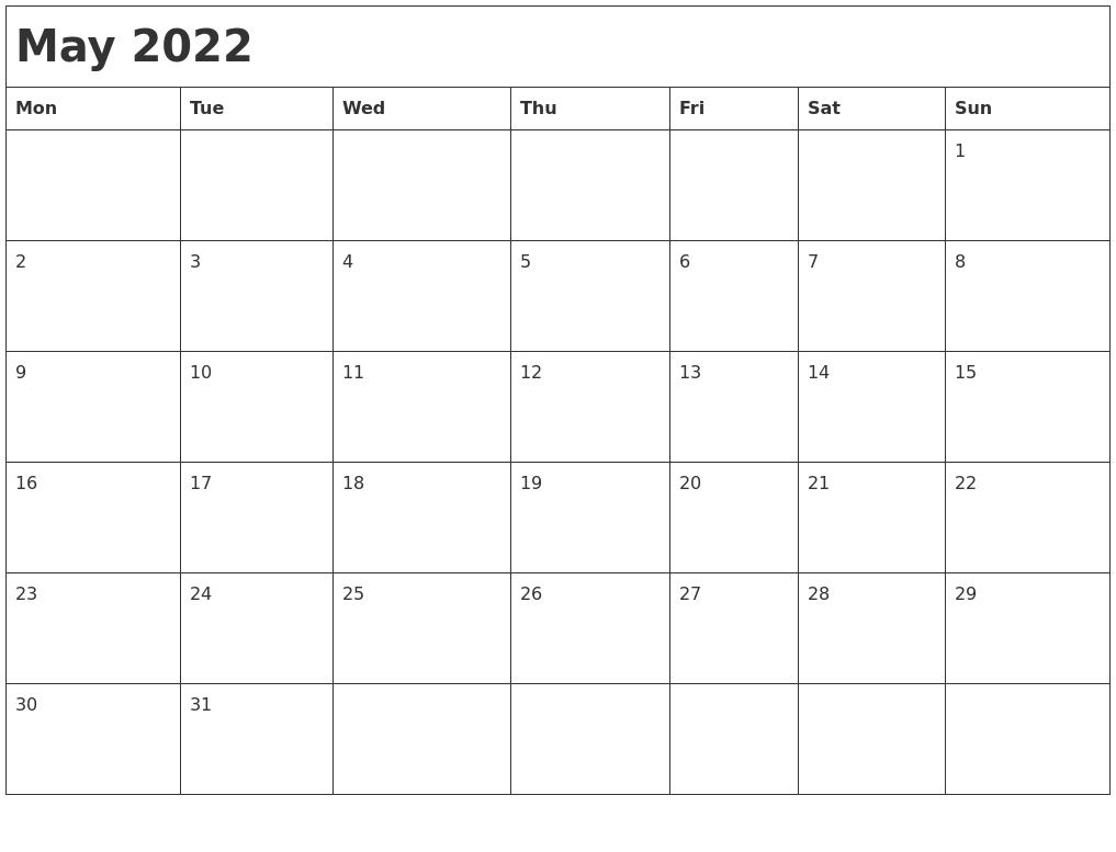 Monthly Calendar Monday Start : May month calendar