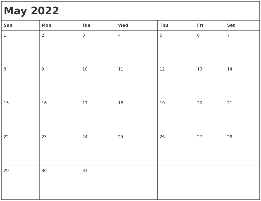 May 2022 Month Calendar