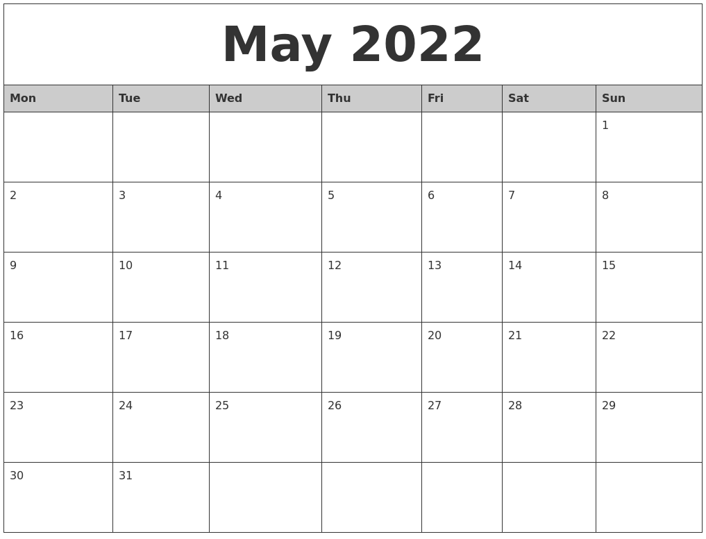 May 2022 Monthly Calendar Printable