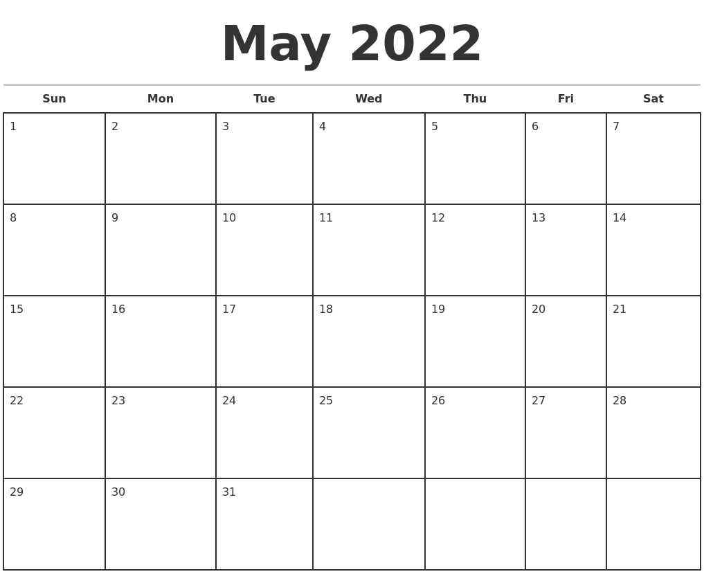 May 2022 Monthly Calendar Template