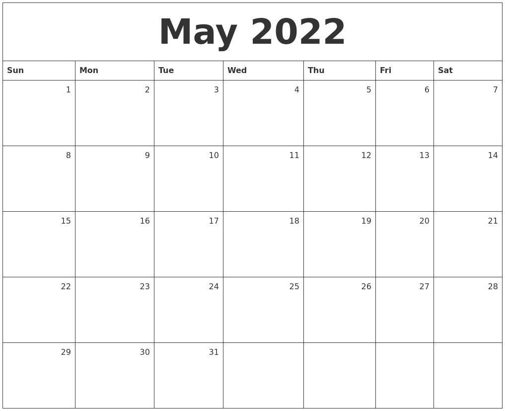 May 2022 Monthly Calendar