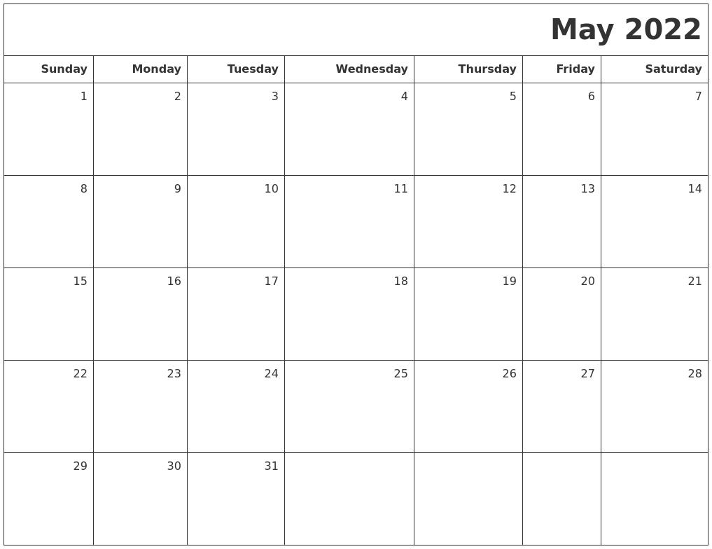 May 2022 Printable Blank Calendar PDF's