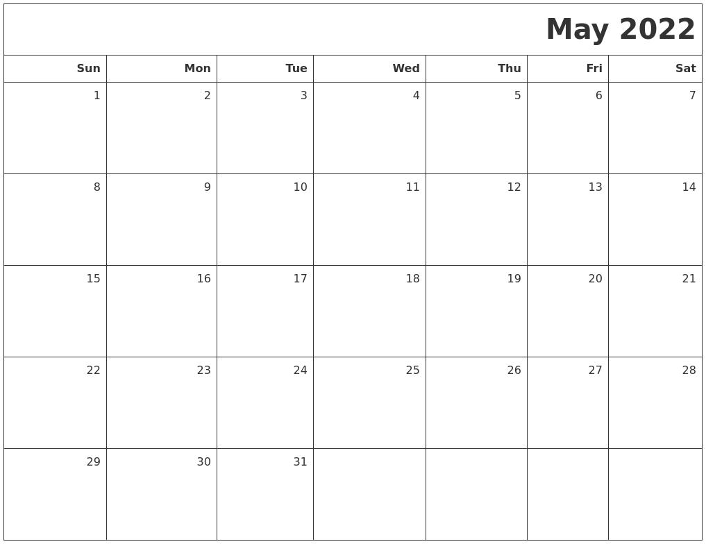 May 2022 Printable Blank Calendar