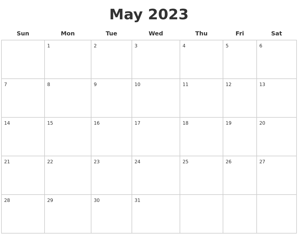May 2023 Blank Calendar Pages